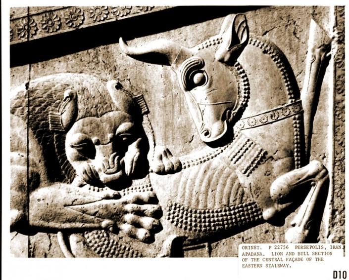 غلبه شیر بر گاو، برگرفته از نقش برجسته معروف در تخت جمشید