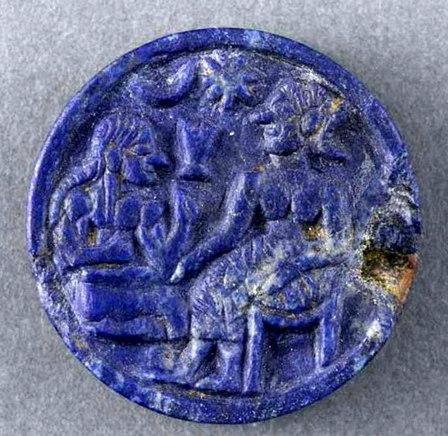 Disque en lapis-lazuli de la civilisation de Jiroft (3ème millénaire av. J.-C.)