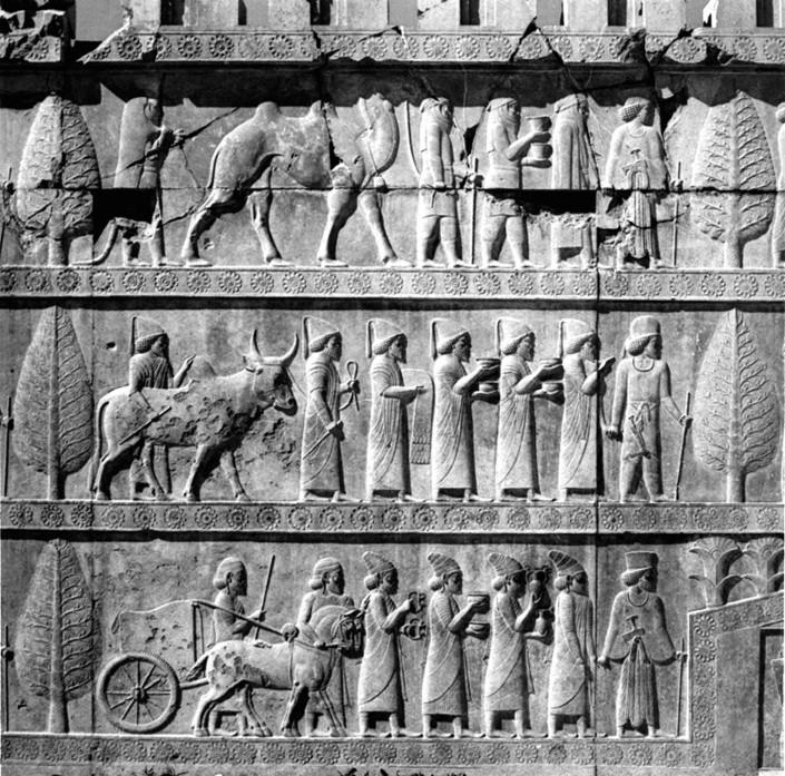 Délégations sur l'apadana de Persepolis