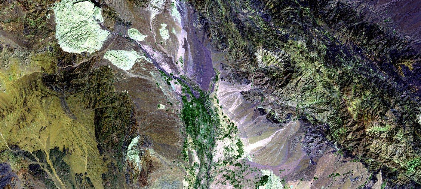 Vue aérienne de la vallée du Halil Rud